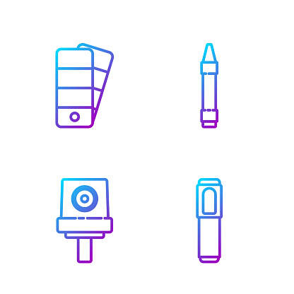 Set line Marker pen, Spray can nozzle cap, Palette and Wax crayons for drawing. Gradient color icons. Vector