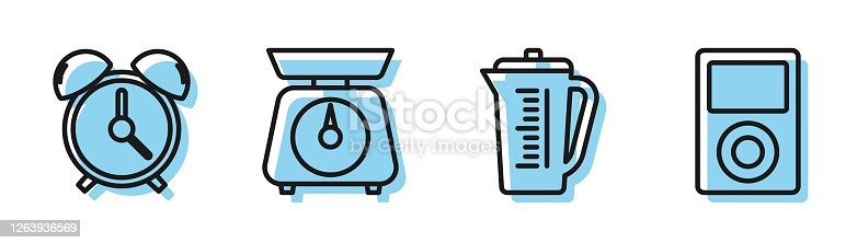 Set line Measuring cup, Alarm clock , Scales and Music player icon. Vector
