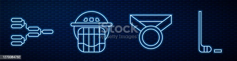 istock Set line Medal, Championship tournament bracket, Hockey helmet, Ice hockey stick and puck and Hockey sports ticket. Glowing neon icon on brick wall. Vector 1270084752