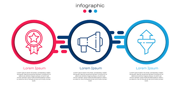 Set line Medal with star, Megaphone and Sales funnel with arrows. Business infographic template. Vector