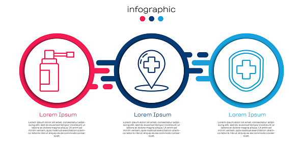 Set line Medical bottle with nozzle spray, Map pointer with cross hospital and Medical shield with cross. Business infographic template. Vector
