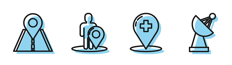 Set line Medical map pointer with cross hospital, Road traffic sign, Map marker with a silhouette of a person and Radar icon. Vector