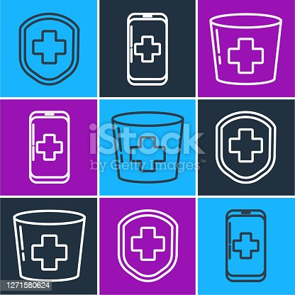 Set line Medical shield with cross, Nurse hat with cross and Emergency mobile phone call to hospital icon. Vector
