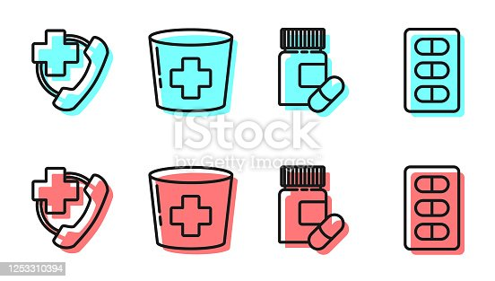 istock Set line Medicine bottle and pills, Emergency phone call to hospital, Nurse hat with cross and Pills in blister pack icon. Vector 1253310394