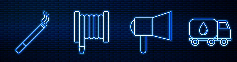 Set line Megaphone, Cigarette, Fire hose reel and Water delivery truck. Glowing neon icon on brick wall. Vector