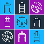 Set line Metal detector in airport, Compass and Suitcase icon. Vector