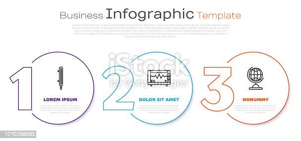 Set line Meteorology thermometer measuring, Computer monitor with cardiogram and Earth globe. Business infographic template. Vector