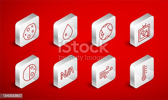 istock Set line Meteorology thermometer, Water drop, Earth globe, Weather forecast, Wind, Moon, Not applicable and Eclipse of sun icon. Vector 1340533922