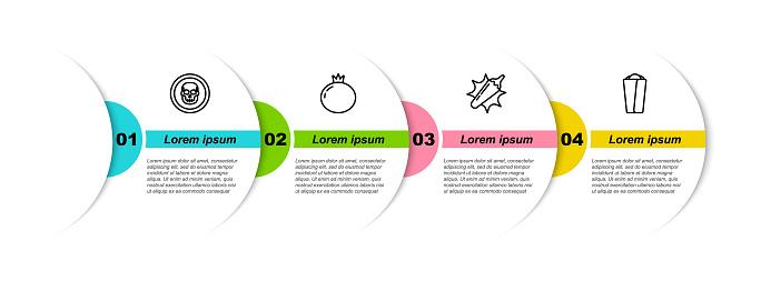 Set line Mexican skull coin, Tomato, Hot chili pepper pod and Burrito. Business infographic template. Vector