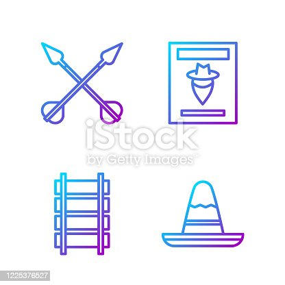 Set line Mexican sombrero hat, Railway, railroad track, Crossed arrows and Wanted western poster. Gradient color icons. Vector