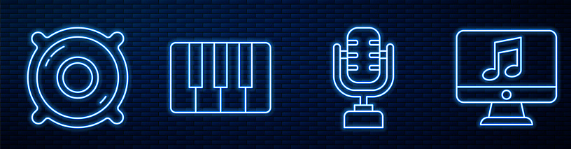 Set line Microphone, Stereo speaker, Music synthesizer, Computer with music note and Music equalizer. Glowing neon icon on brick wall. Vector