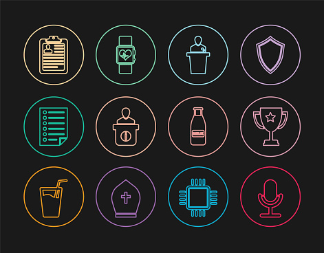 Set line Microphone, Trophy cup, Speaker, Information desk, Document, Clipboard with resume, Glass bottle milk and cap and Smart watch heart beat rate icon. Vector