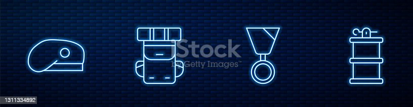 istock Set line Military reward medal, beret, Hiking backpack and Hand smoke grenade. Glowing neon icon on brick wall. Vector 1311334892