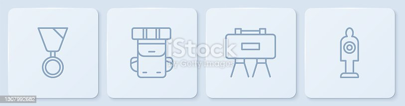 istock Set line Military reward medal, mine, Hiking backpack and Human target sport for shooting. White square button. Vector 1307992682