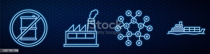 Set line Molecule oil, No barrel for gasoline, Oil industrial factory building, Oil tanker ship and Oil petrol test tube. Glowing neon icon on brick wall. Vector