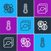 istock Set line Money exchange, Photo and Meteorology thermometer icon. Vector 1267491318