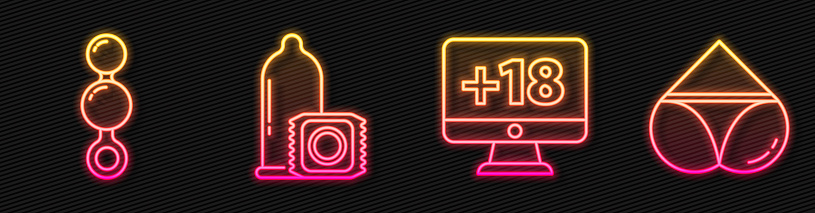 Set line Monitor with 18 plus content, Anal beads, Condom and Woman panties. Glowing neon icon. Vector