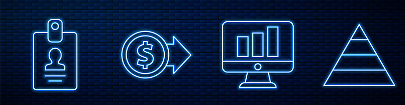 Set line Monitor with graph chart, Identification badge, Coin money with dollar and Pyramid chart infographics. Glowing neon icon on brick wall. Vector