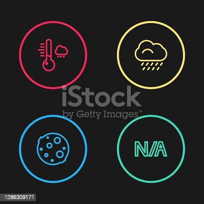 istock Set line Moon, Not applicable, Cloud with rain and Meteorology thermometer icon. Vector 1286309171