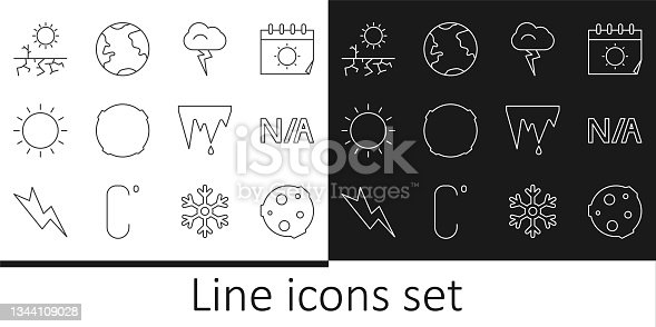 istock Set line Moon, Not applicable, Storm, Sun, Drought, Icicle and Earth globe icon. Vector 1344109028
