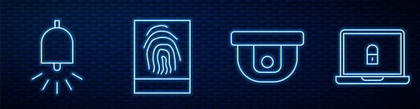 ilustrações de stock, clip art, desenhos animados e ícones de set line motion sensor, ringing alarm bell, fingerprint and laptop and lock. glowing neon icon on brick wall. vector - dedo humano