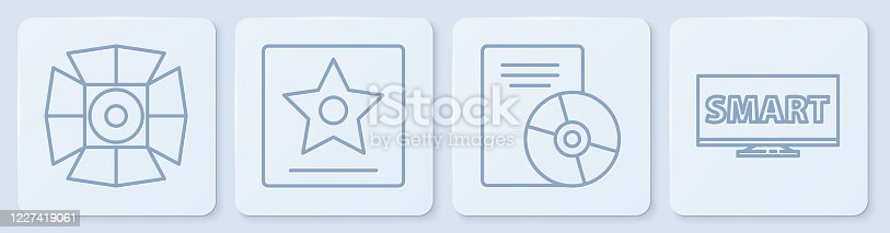 istock Set line Movie spotlight, CD or DVD disk, Hollywood walk of fame star and Screen tv with Smart video. White square button. Vector 1227419061