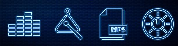 bildbanksillustrationer, clip art samt tecknat material och ikoner med ställ linje mp3 fildokument, musik equalizer, triangle musikinstrument, dial ratten nivå teknikinställningar och usb-minne. glödande neonikon på tegelvägg. vektor - triangel slagverksinstrument