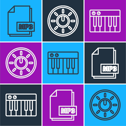 Set line MP3 file document, Music synthesizer and Dial knob level technology settings icon. Vector