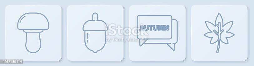 Set line Mushroom, Speech bubble with text autumn, Acorn and Leaf or leaves. White square button. Vector