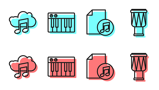 Set line Music book with note, Music streaming service, Music synthesizer and Drum icon. Vector