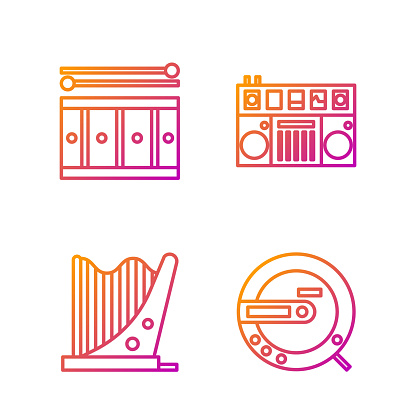 Set line Music CD player, Harp, Drum with drum sticks and DJ remote for playing and mixing music. Gradient color icons. Vector