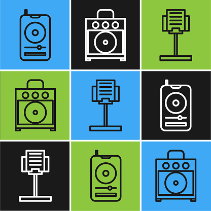 Set line Music player, Music stand and Guitar amplifier icon. Vector