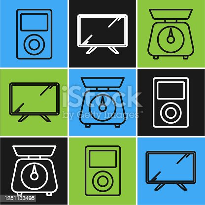 Set line Music player , Scales and Smart Tv icon. Vector