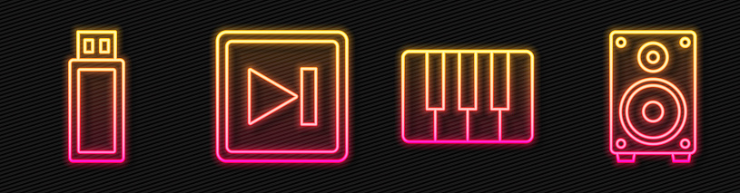 Set line Music synthesizer, USB flash drive, Fast forward and Stereo speaker. Glowing neon icon. Vector