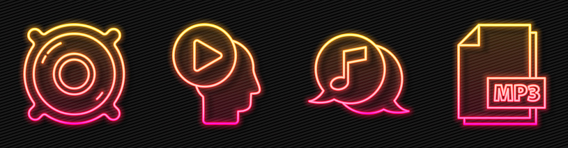 Set line Musical note in speech bubble, Stereo speaker, Head people with play button and MP3 file document. Glowing neon icon. Vector