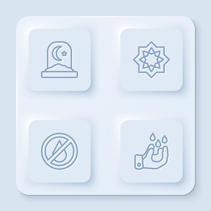 Set line Muslim cemetery, Octagonal star, No water and Wudhu. White square button. Vector