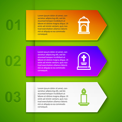 Set line Muslim Mosque, Tombstone with cross and Burning candle. Business infographic template. Vector