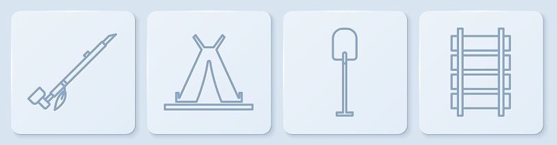 Set line Native American indian smoking pipe, Shovel, Indian teepee or wigwam and Railway, railroad track. White square button. Vector