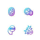 Set line Negative virus, High human body temperature, Virus and Shield protecting from. Gradient color icons. Vector.