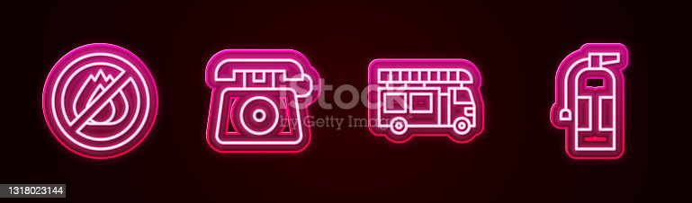 istock Set line No fire, Telephone call 911, Fire truck and extinguisher. Glowing neon icon. Vector 1318023144