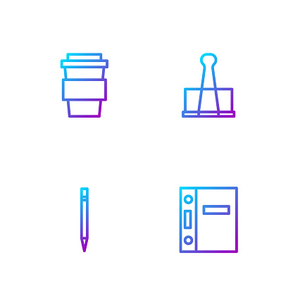 Set line Office folders, Pencil with eraser, Coffee cup to go and Binder clip. Gradient color icons. Vector