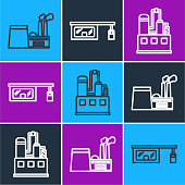 Set line Oil industrial factory building, Oil industrial factory building and Gas filling station icon. Vector
