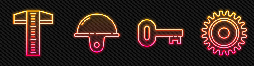 Set line Old key, T-square line, Worker safety helmet and Circular saw blade. Glowing neon icon. Vector