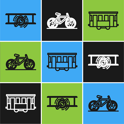 Set line Old retro vintage plane, Old city tram and Bicycle icon. Vector
