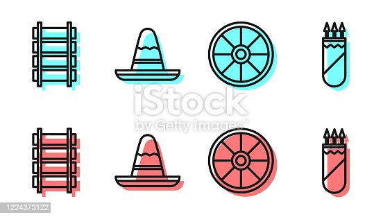Set line Old wooden wheel, Railway, railroad track, Mexican sombrero hat and Quiver with arrows icon. Vector