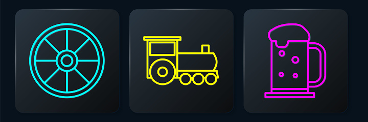 Set line Old wooden wheel, Wooden beer mug and Retro train. Black square button. Vector
