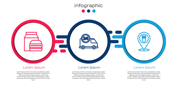 Set line Online ordering and burger delivery, Fast by car and Cafe restaurant location. Business infographic template. Vector