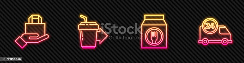 istock Set line Online ordering and delivery, , Coffee cup to go and Fast by car. Glowing neon icon. Vector 1272854740
