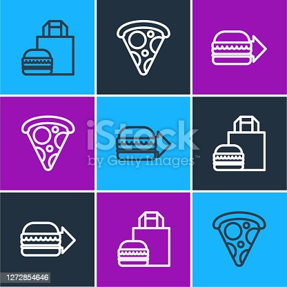 Set line Online ordering burger delivery, and Slice of pizza icon. Vector.