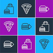 istock Set line Online ordering burger delivery, and Slice of pizza icon. Vector 1272854646